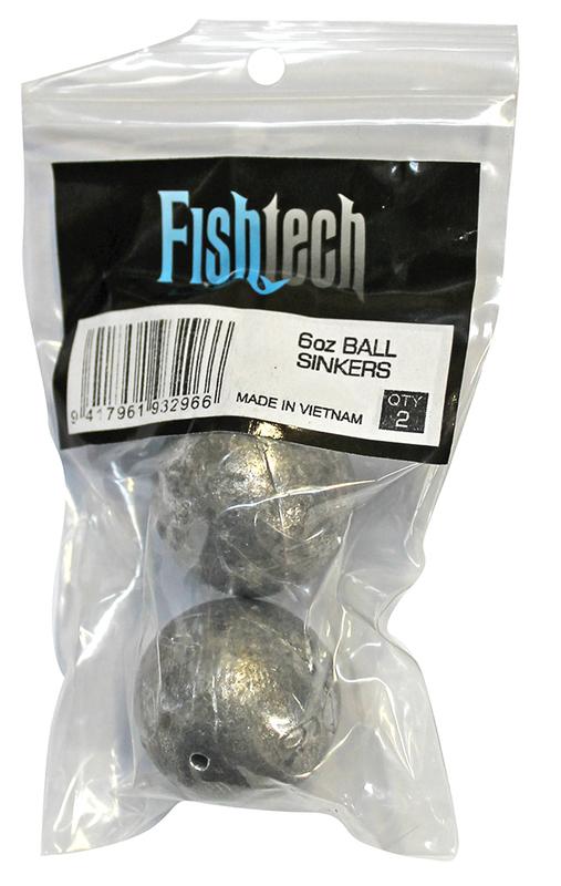 Fishtech Ball Sinkers 6oz (2 per pack)