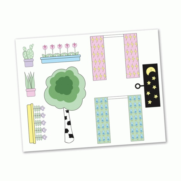 Lundby: Creative Sticker Sheet - Curtains and Flowers