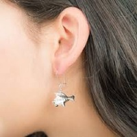 Couture Kingdom: Disney - Princess Ariel Flounder Hook Earrings (White Gold) image