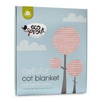Ecosprout: Cotton Cellular Breathable Cot Blanket - Powder Puff Pink