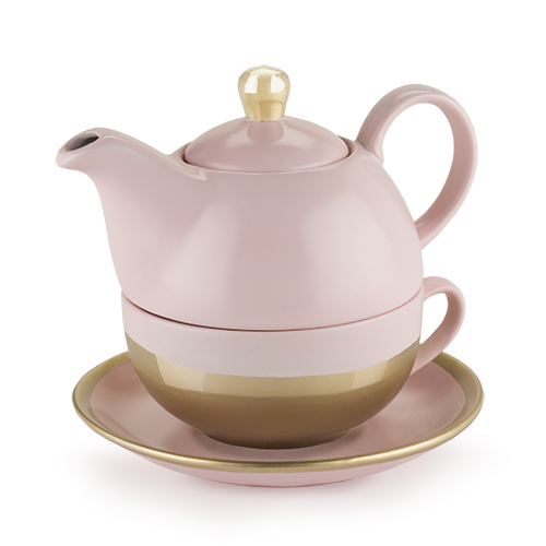 Pinky Up: Addison - Tea for One Set (Pink/Gold) image