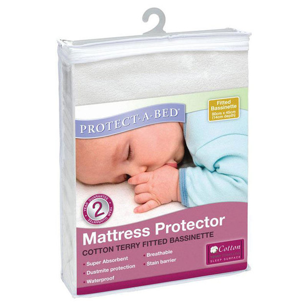 Protect-A-Bed Cotton Terry Fitted Bassinet Mattress Protector (Elastic Strap)