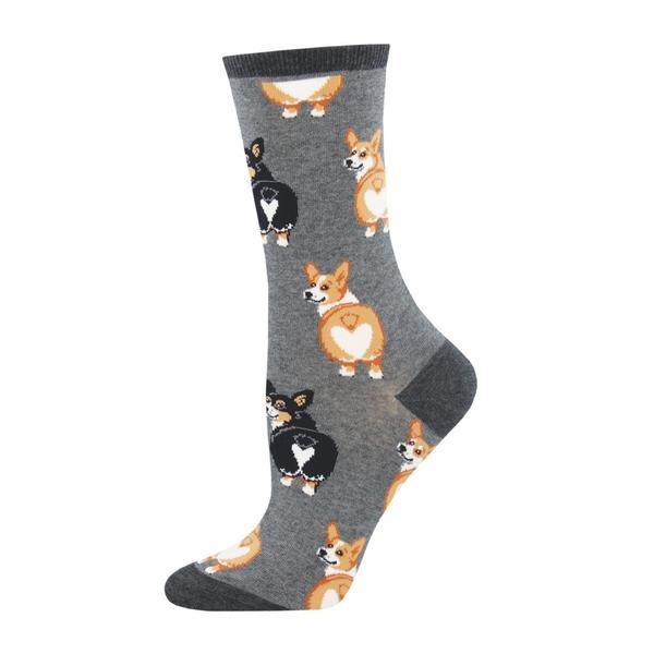 Socksmith: Women's Corgi Butt Crew Socks - Charcoal Heather