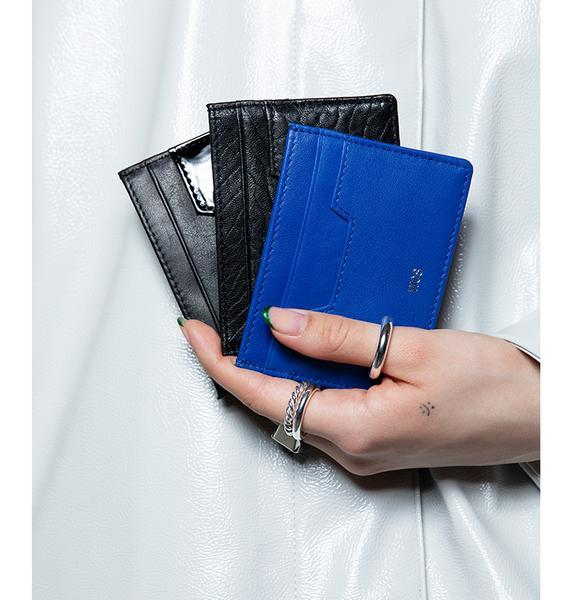 Wos: Nappa Leather Card Holder - Neon Blue