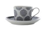 Maxwell & Williams Print Indigo Straight Cup & Saucer - Arrow/Flower (200ml)