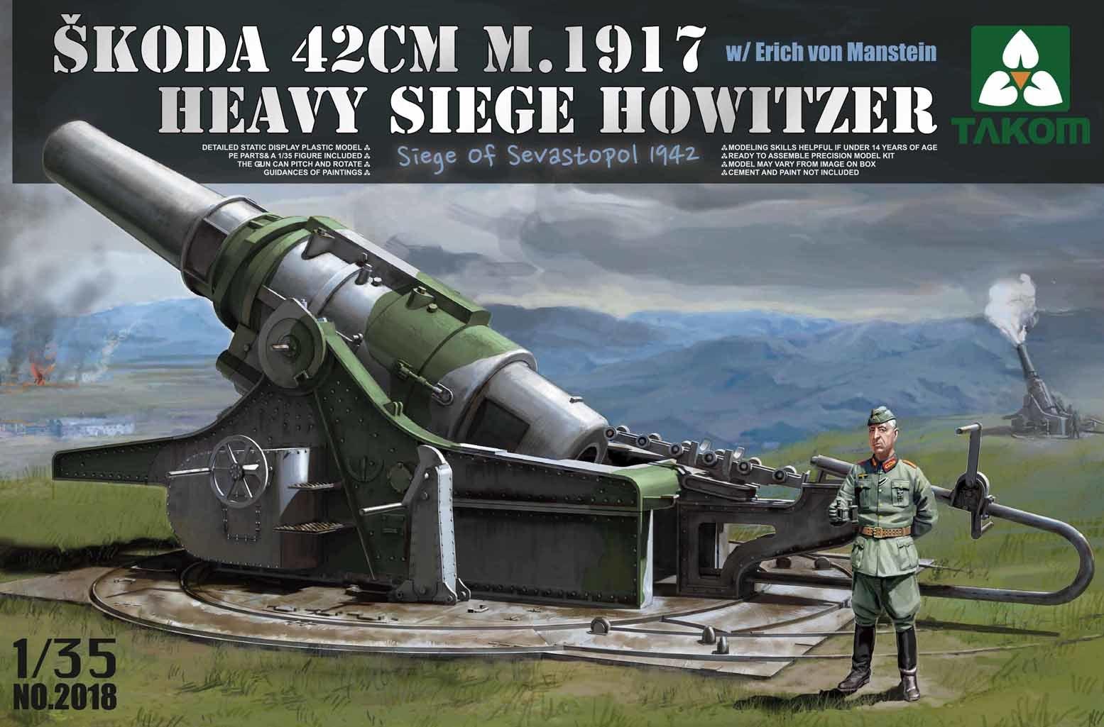Takom 1/35 Skoda 42cm M.1917 Heavy Siege Howitzer w/Erich von Manstein image