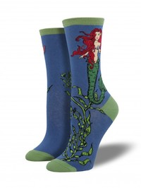 Mermaid Crew Socks - Sea Blue