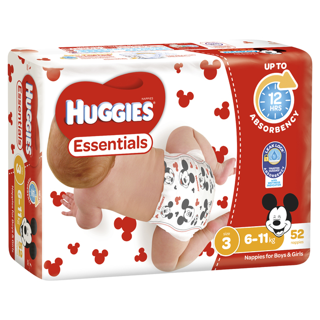 Huggies Essentials Nappies Bulk - Size 3 Crawler (52)