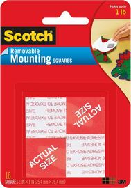 Scotch 108 Removable Mounting Squares 25.4mm x 25.4mm Pkt16