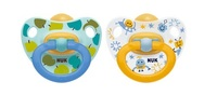 NUK: Classic Happy Kids Latex Soothers - 0-6 Months (2 Pack) - Blue + Yellow