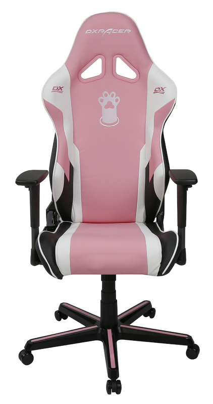 DXRacer Pink Paw Print RZ95 Gaming Chair (Pink & White) for