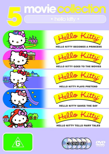 Hello Kitty-Becomes A Princess/Goes To The Movies/Plays Pretend/Saves The Day/Tells Fairytales (5 Disc Set) on DVD image