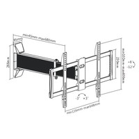 "Brateck Aluminum Slim Sliding Full-Motion TV Wall Mount For 37""-70"" LED, LCD Flat Panel image"