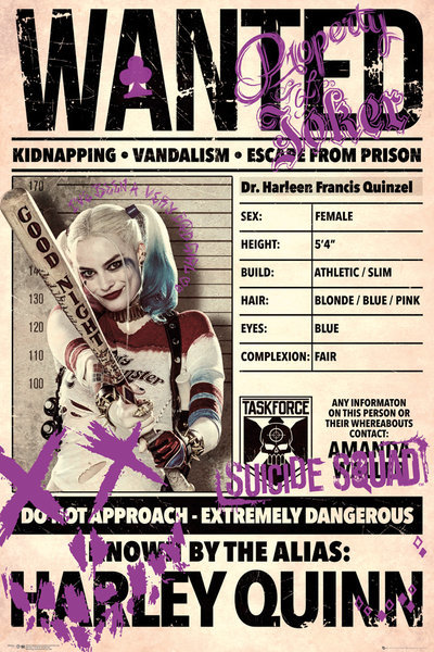 Suicide Squad Poster - Harley Quinn Wanted (537)