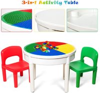 Kids Round 3-in-1 Activity Table With 2 Chairs (Primary)