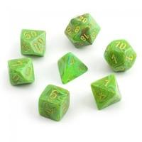 Chessex: Polyhedral 7-Die Set - Vortex Silme with Yellow