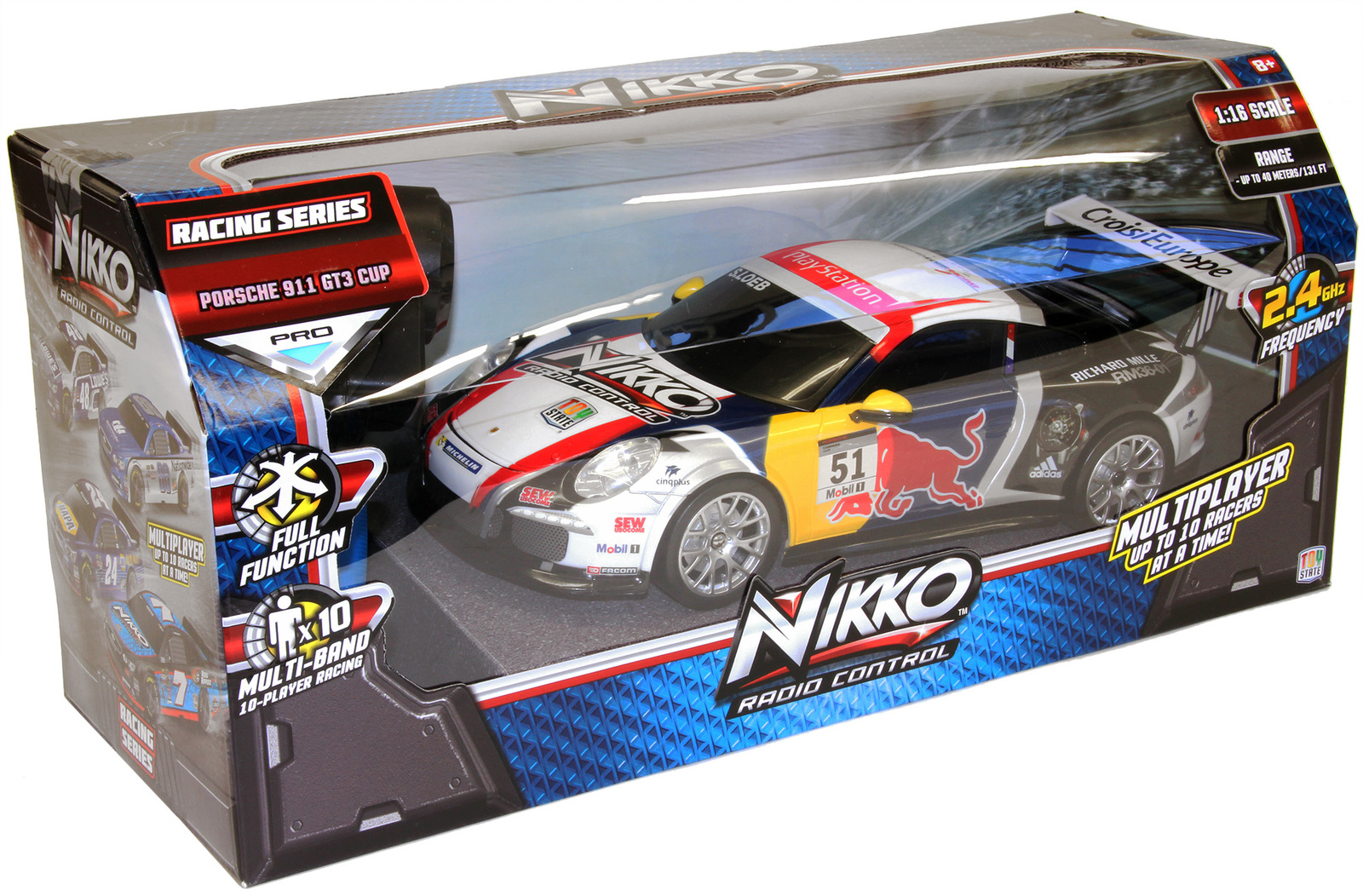 nikko r c 1 16 porsche 911 gt3 red bull toy at mighty ape australia. Black Bedroom Furniture Sets. Home Design Ideas