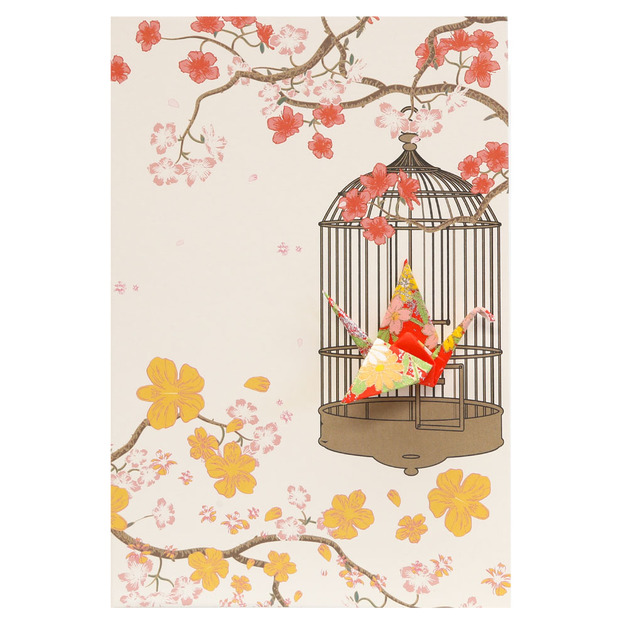 Short Story: Card Crane in Cage Flowers Red