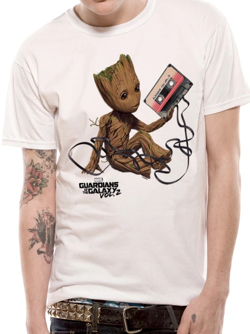 Guardians Of The Galaxy Vol 2 - Groot and Tape T-Shirt White - Medium
