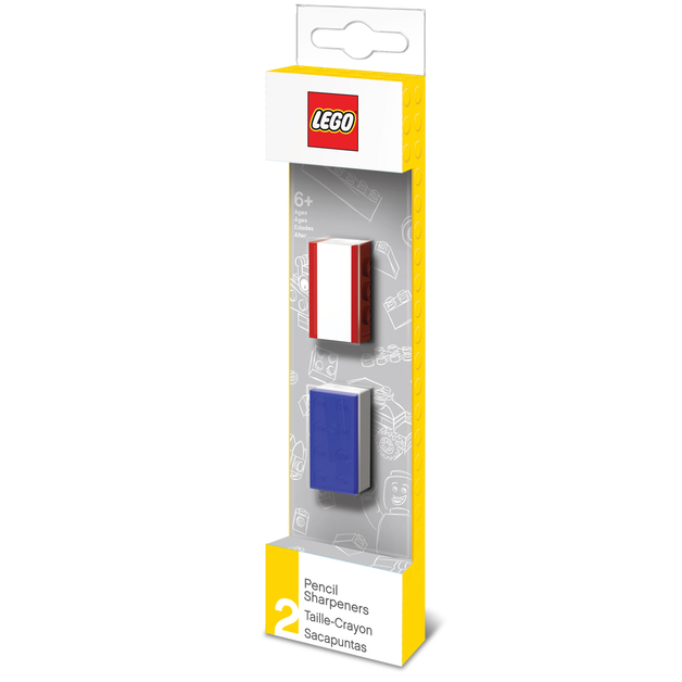 Buy lego pencil sharpener 2 pack blue amp red at mighty ape nz