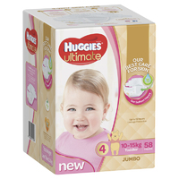 Huggies Ultimate Nappies: Jumbo Pack - Toddler Girl 10-15kg (58)