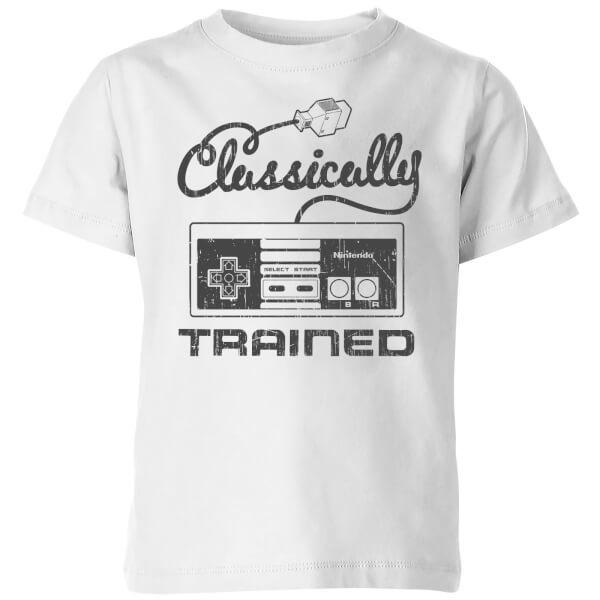 Nintendo Retro Classically Trained Kids' T-Shirt - White - 9-10 Years image