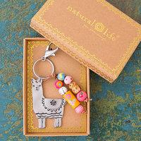 Natural Life: Santa Fe Keychain - Llama Llive Happy