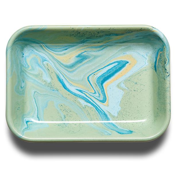 Bornn: Enamel Marble Medium Baking Dish - Mint