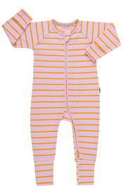 Bonds Ribby Zippy Wondersuit - Pink Posy/Apricot Pop (12-18 Months)