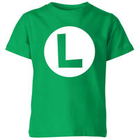 Nintendo Super Mario Luigi Logo Kids' T-Shirt - Kelly Green - 9-10 Years image