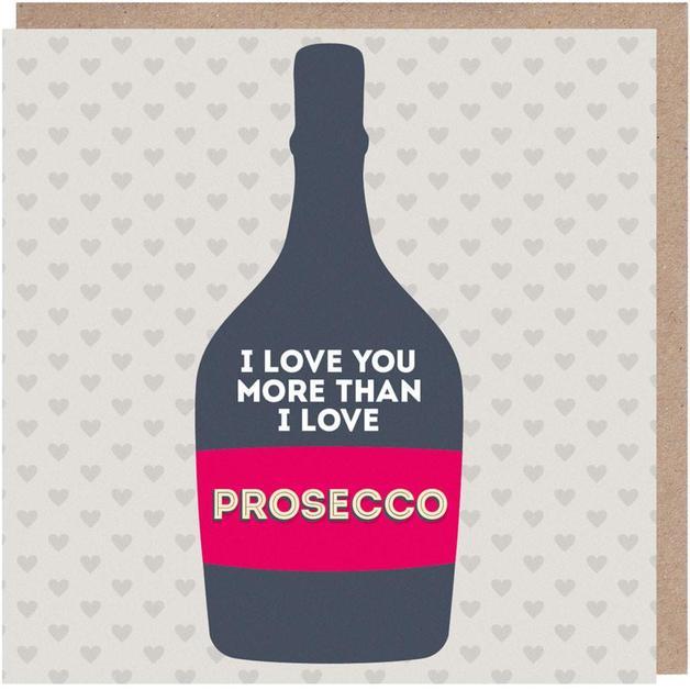 Paper Plane: I Love You More Than Prosecco Anniversary Love Card