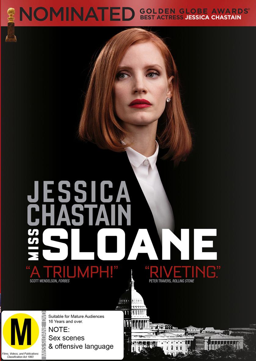 Miss Sloane on DVD image