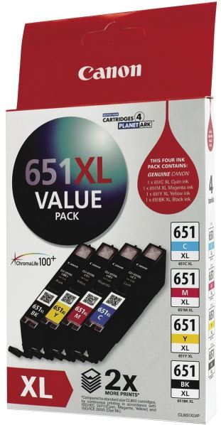 Canon Ink Cartridge - CLI651XL Value Pack (Black+Colour High Yield)