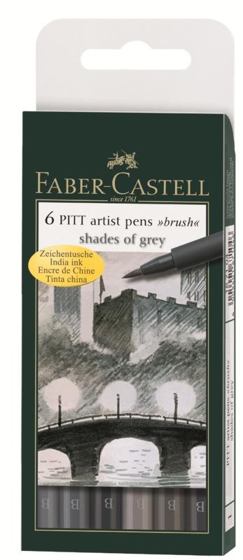 Faber-Castell: Pitt Artist Pens B Shades of Grey (Wallet of 6)