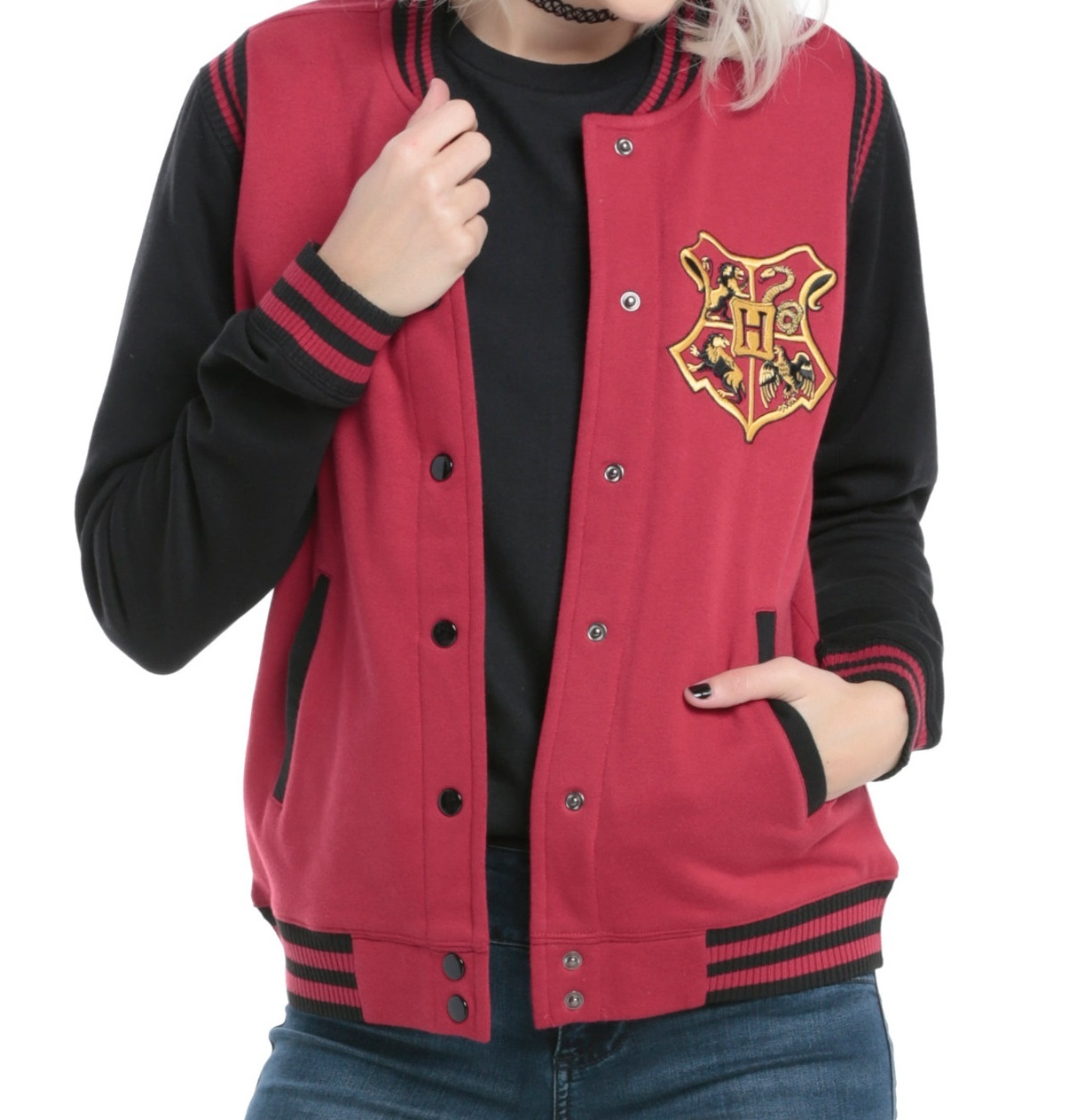 Official Harry Potter Varsity Jacket Hogwarts Colour Crest Black Medium