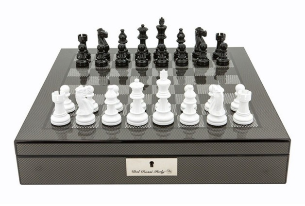 "Dal Rossi: Lockable Chess Set - 16"" Game Board (Carbon Fibre)"