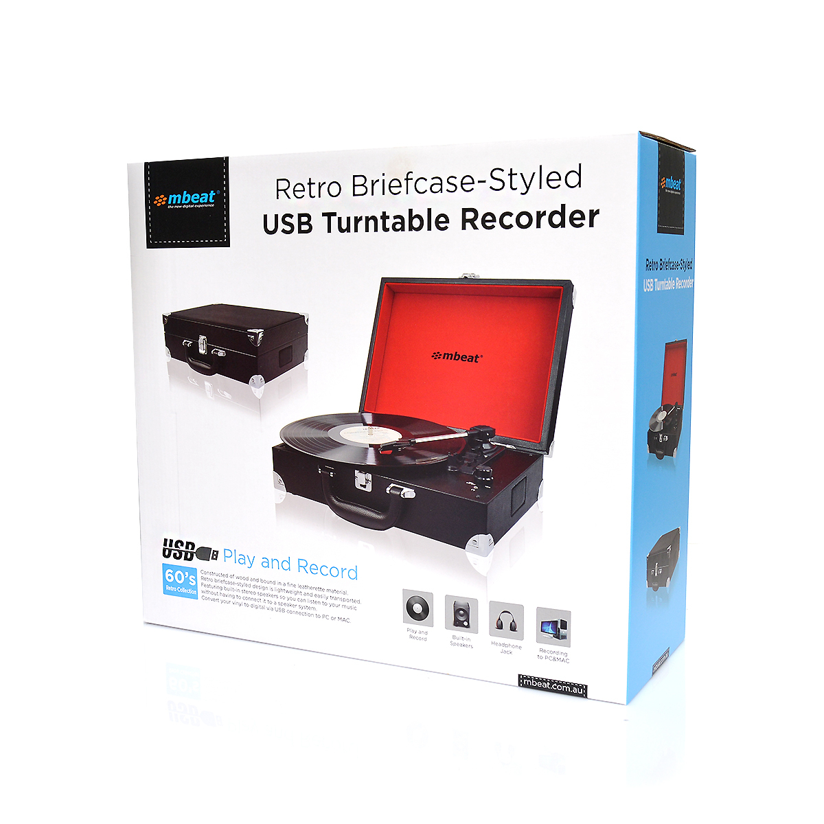 mBeat Retro Briefcase USB Turntable image