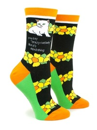 Anne Taintor: Crazy Cat - Ladies Crew Socks