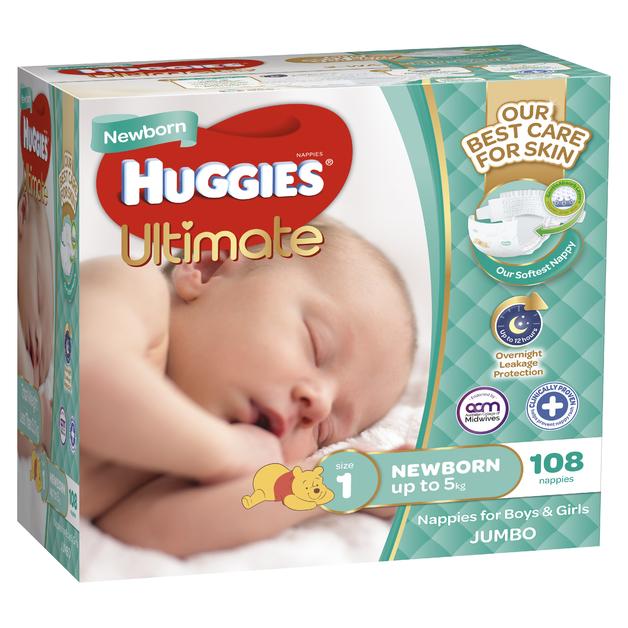Huggies Ultimate Nappies: Jumbo Pack - Newborn Up to 5kg (108)