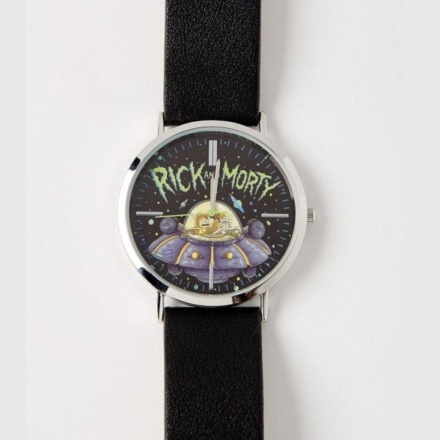 Rick and Morty: Black Leather Strap Watch
