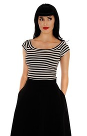 Retrolicious: Striped Boat Neck Top in Black - (Large)