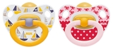 NUK: Classic Happy Kids Latex Soothers - 6-18 Months (2 Pack) - Pink + Yellow