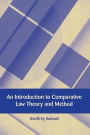 An Introduction to Comparative Law Theory and Method by Geoffrey Samuel