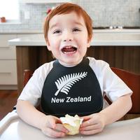 Make My Day: Silicon Baby Bib - New Zealand Black & White