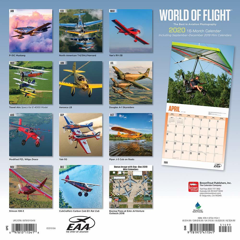 Airplanes, World of Flight EAA 2020 Square Wall Calendar image