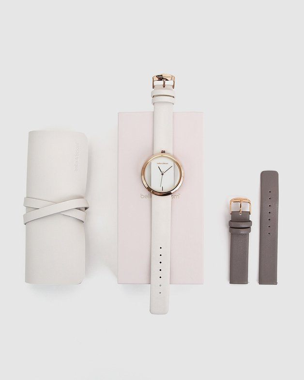 Belle and Bloom: Barcelona Story Watch Gift Set - Ivory/Grey