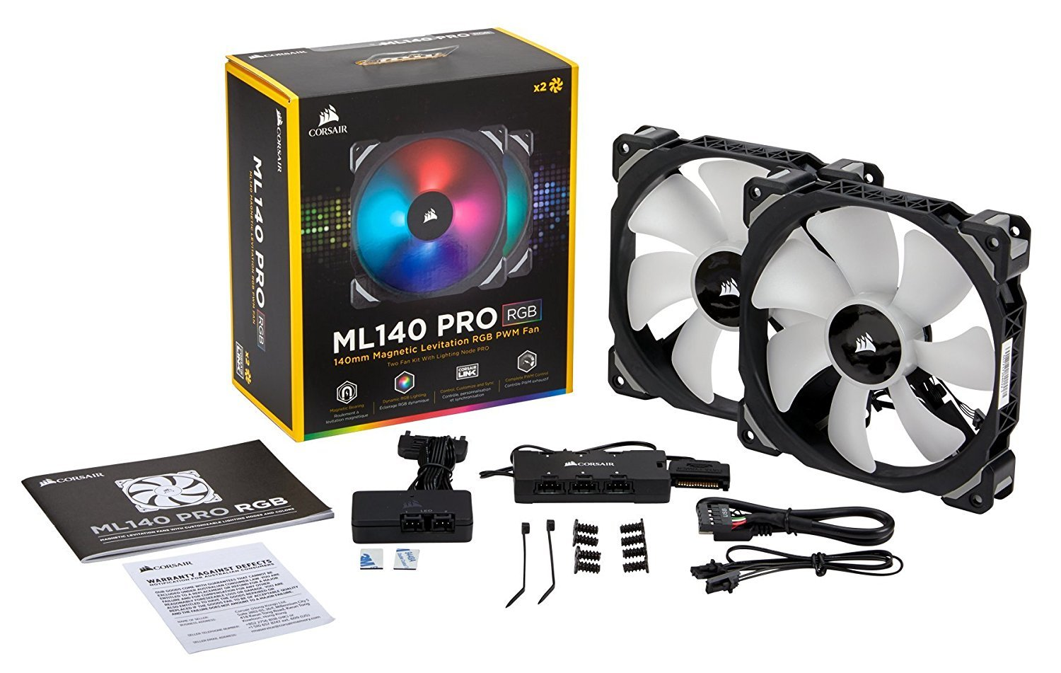 Corsair ML140 PRO RGB LED 140MM PWM Premium Magnetic Levitation Fan — Twin Fan Pack with Lighting Node PRO image