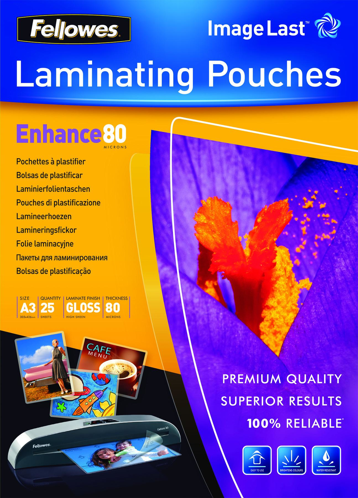 Fellowes Laminating Pouches - A3 - 80 Micron Pack 25 image