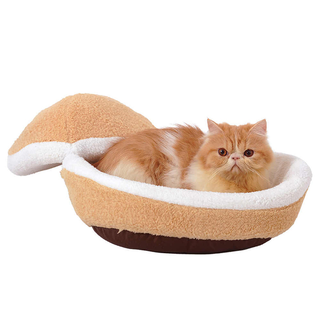 Clamshell Indoor Pet Bed - For Small Cats & Dogs (Brown)