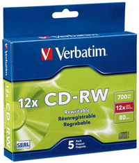 Verbatim CD-RW 700MB 5Pk Slim 4x-12x High Speed image